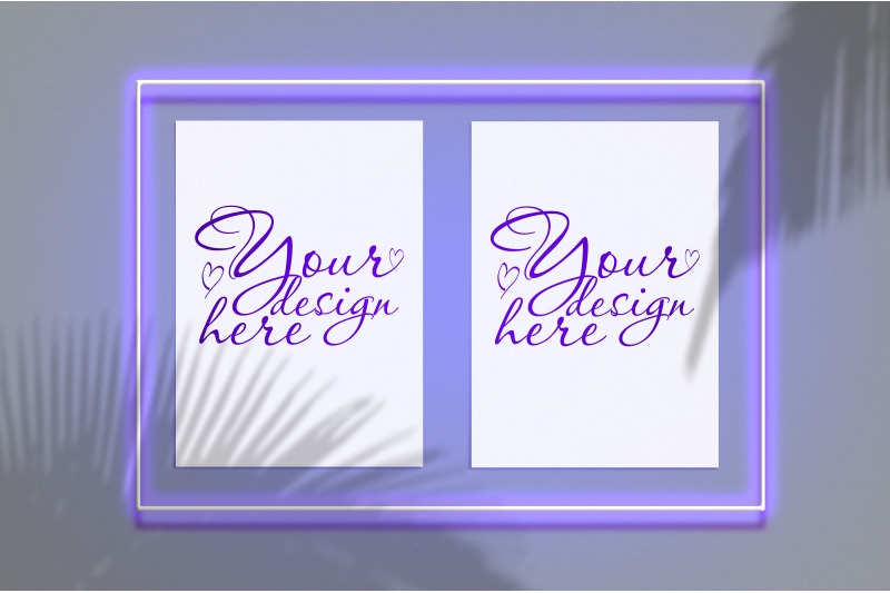 Free Mock up poster in a neon frame with a violet glow (PSD Mockups)