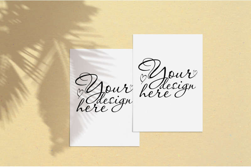 Free Modern mock up with palm shadows on sand background (PSD Mockups)