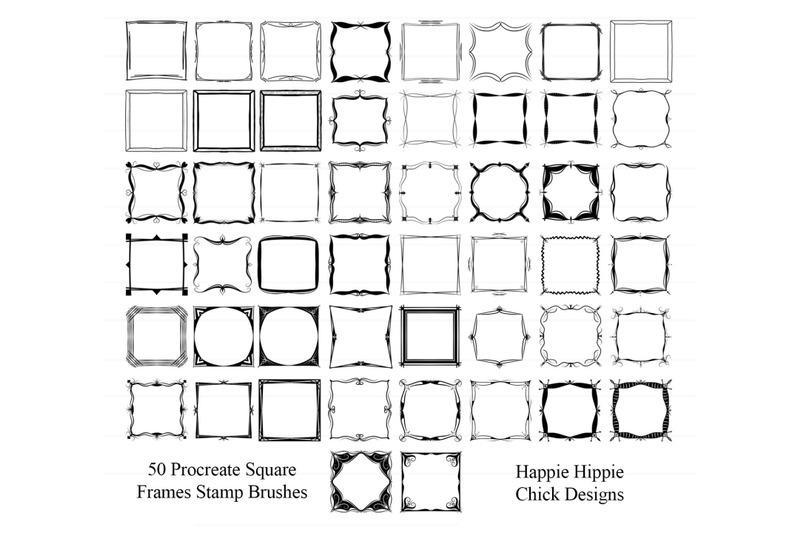 hhcd-50-procreate-square-frames-brush-stamps