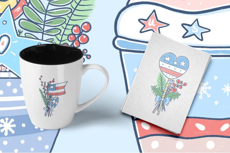 christmas-illustration-with-american-flag