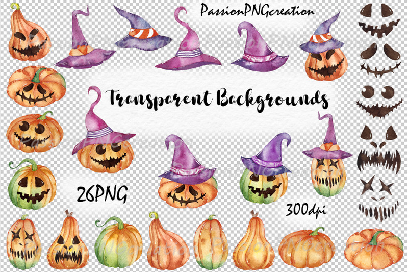 watercolor-halloween-pumpkins-clipart-jack-o-lanterns-spooky-clipart
