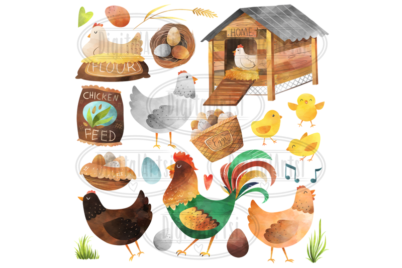 watercolor-chickens-clipart
