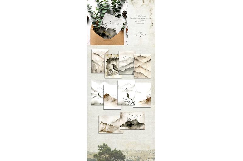 north-watercolor-hand-drawn-set