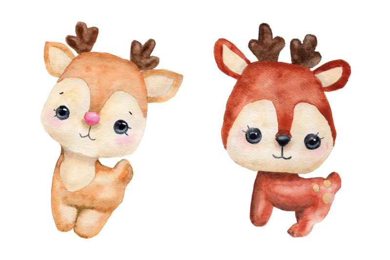 collection-of-watercolor-christmas-deer-and-bears