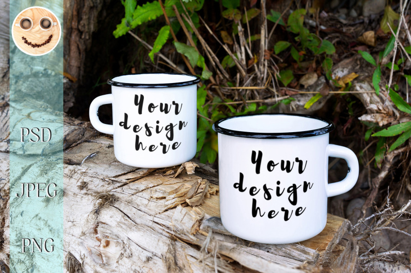 Free Two white campfire enamel mug mockup with tree stump (PSD Mockups)