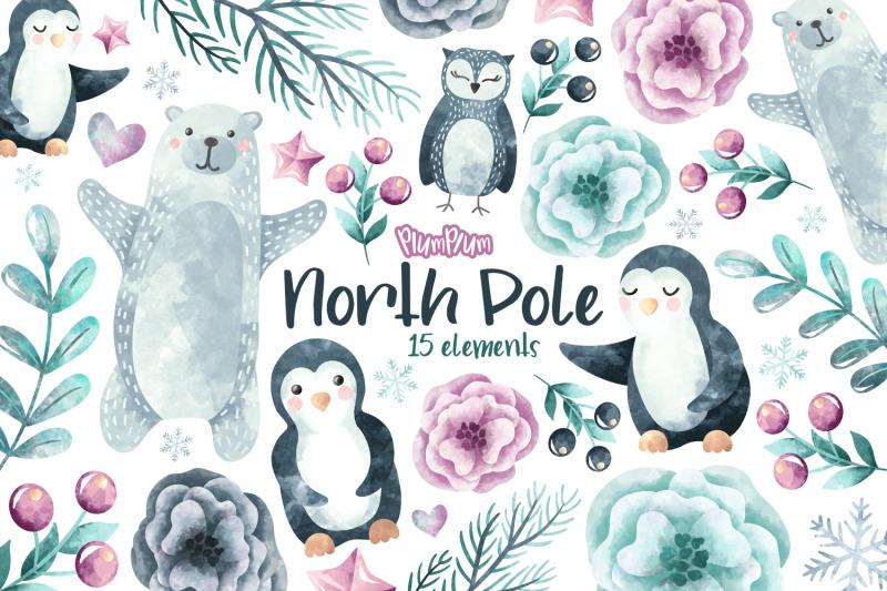 winter-animals-watercolor-cliparts