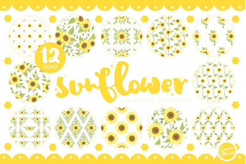 handdrawrn-sunflower-seamless-patterns