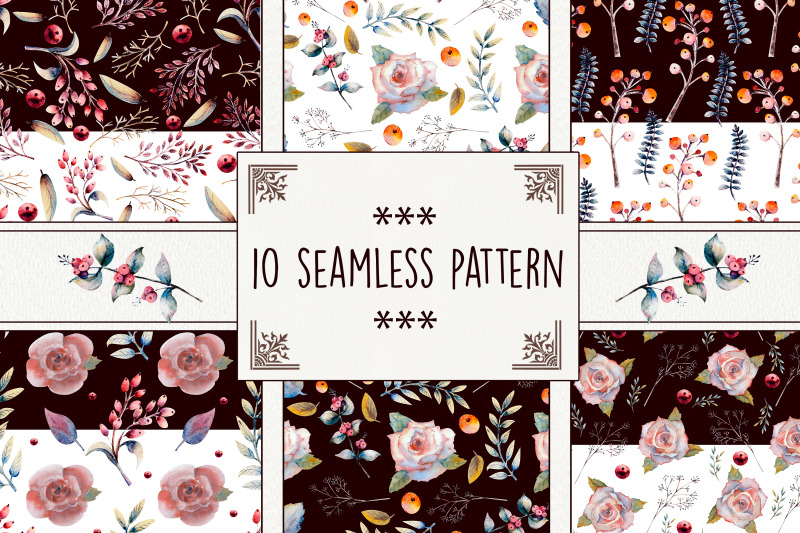 seamless-pattern-pink-rose-flowers-green-leaves-berries
