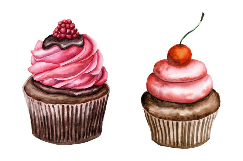 set-of-watercolor-cupcakes