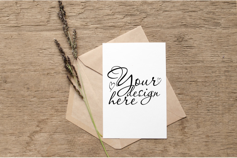 Free Wedding Card Mockup with envelope and herbs (PSD Mockups)