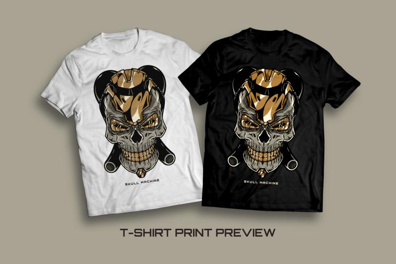 skull-machine-t-shirt-illustration