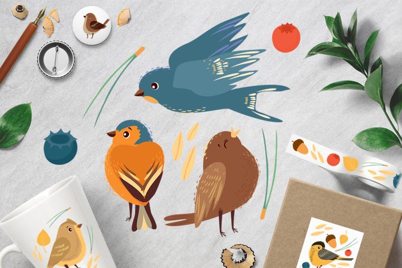 little-birds-vector-set