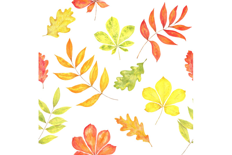 watercolor-autumn-seamless-pattern-with-oak-chestnut-ashberry-leaves