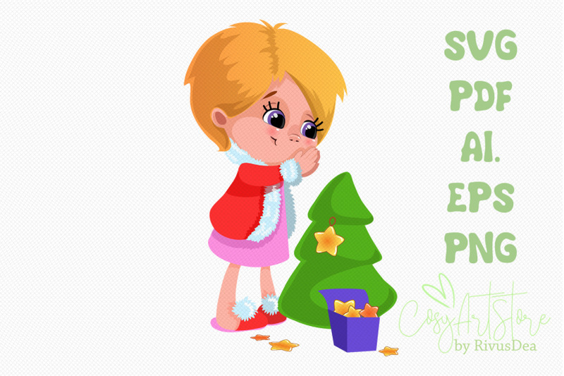 cute-girl-decorating-christmas-tree-with-star-svg