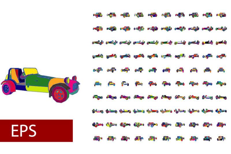 100-sets-of-pop-art-car-rotations