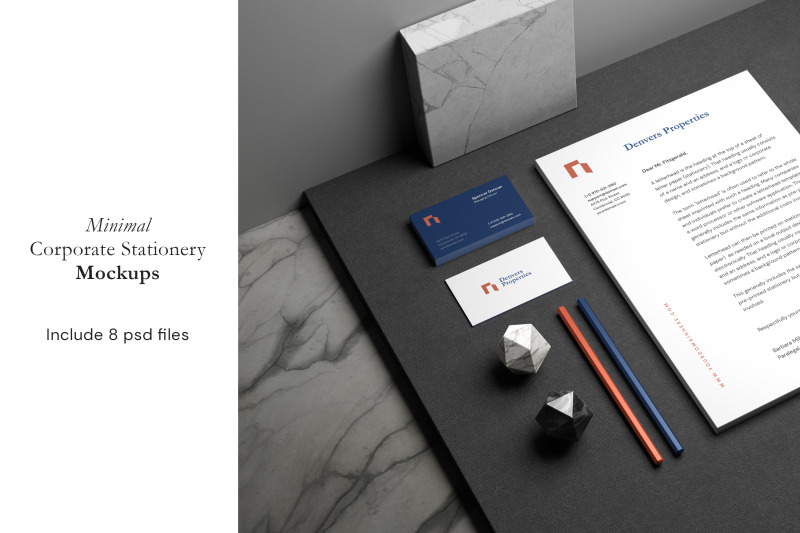 Free Minimal Corporate Stationery Mockup (PSD Mockups)