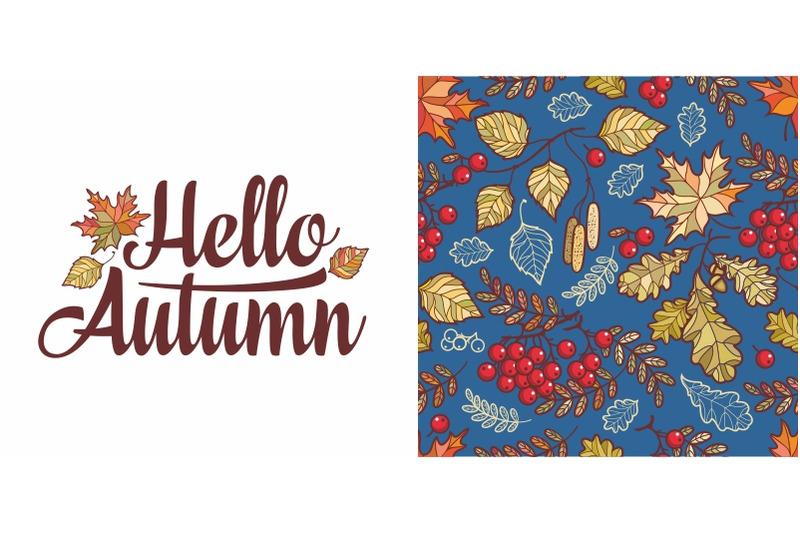 hello-autumn-lettering-phrase-text-autumn-leaves-seamless-pattern