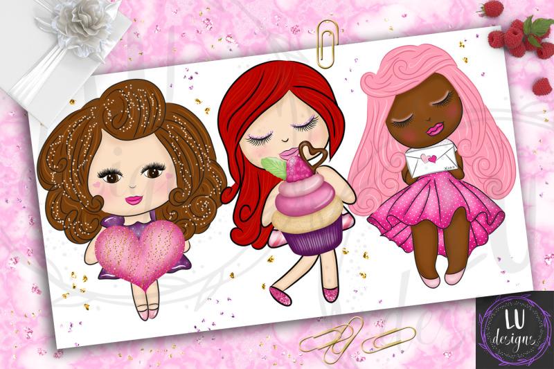 valentine-039-s-day-clipart-valentines-dolls-cute-romantic-girls-graphic