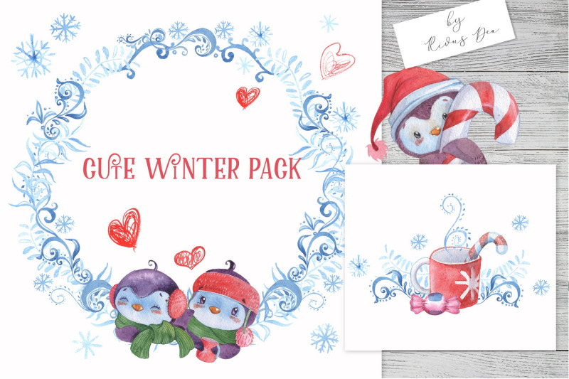 christmas-penguins-bundle-cliparts-digital-papers-borders