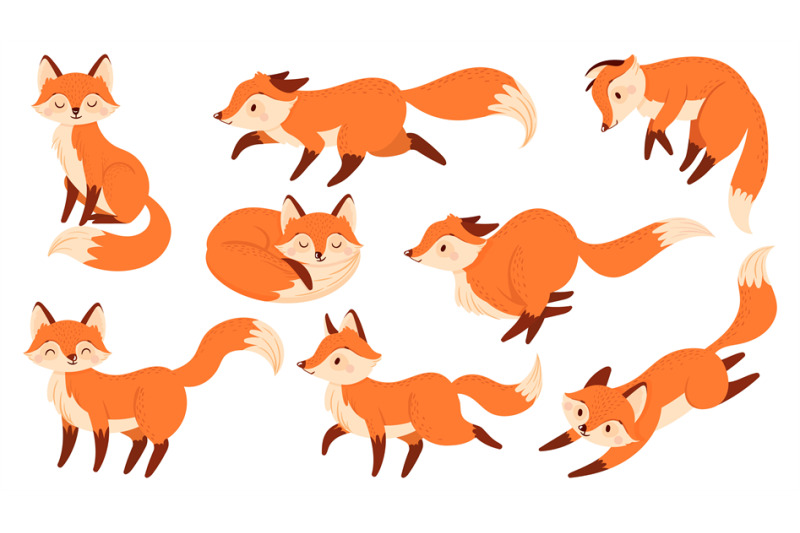 cartoon-red-fox-funny-foxes-with-black-paws-cute-jumping-animal-vect