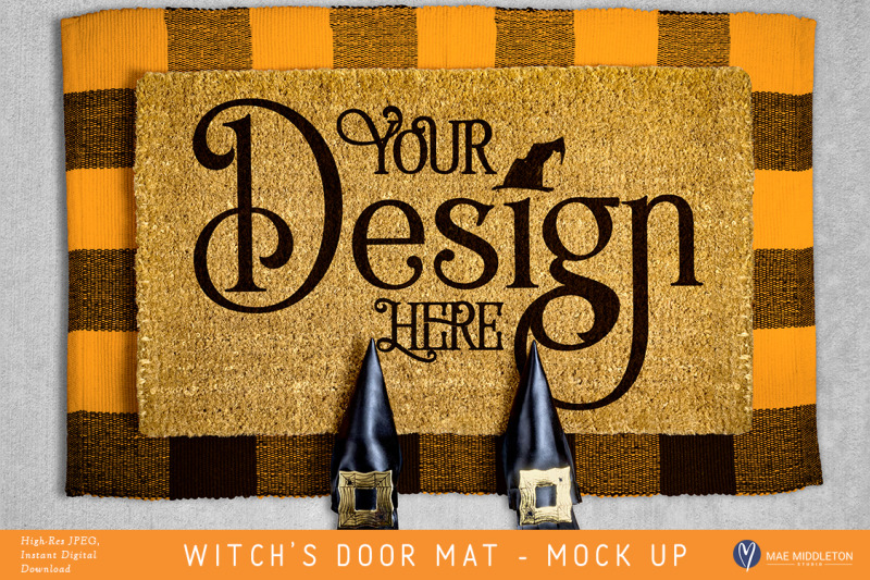 Free Door Mat Mock up with Witch Shoes for Halloween (PSD Mockups)