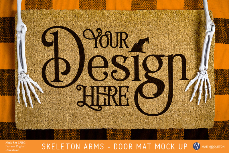 Free Halloween Door Mat mock up with skeleton arms (PSD Mockups)
