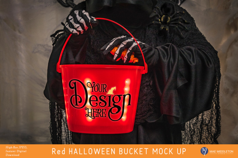 Free Halloween Mockup / Styled Photo of Red Light up Bucket (PSD Mockups)