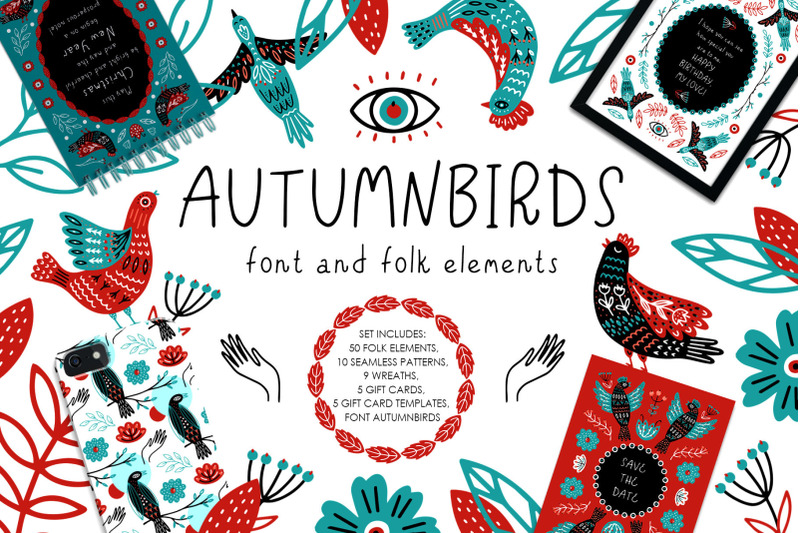 autumnbirds-font-and-folk-element