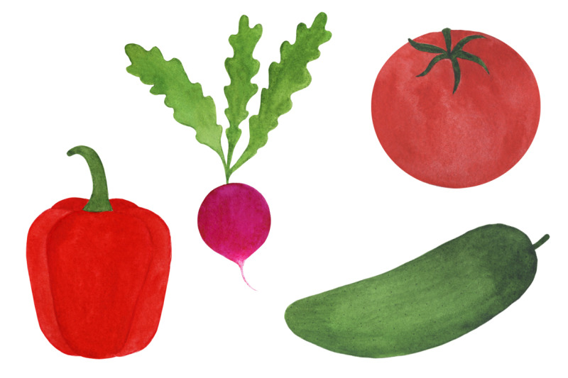 watercolor-vegetables-collection