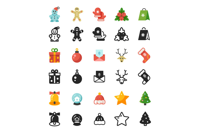 christmas-festive-flat-icons-and-silhouette-icons-isolated-on-white-ba