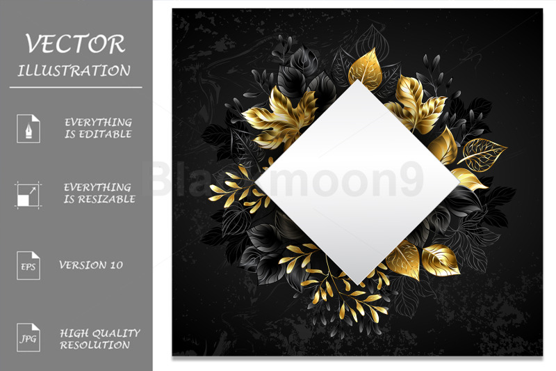 rhombus-with-golden-leaves