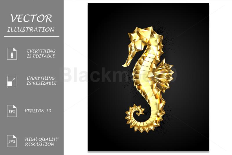 gold-polygonal-seahorse