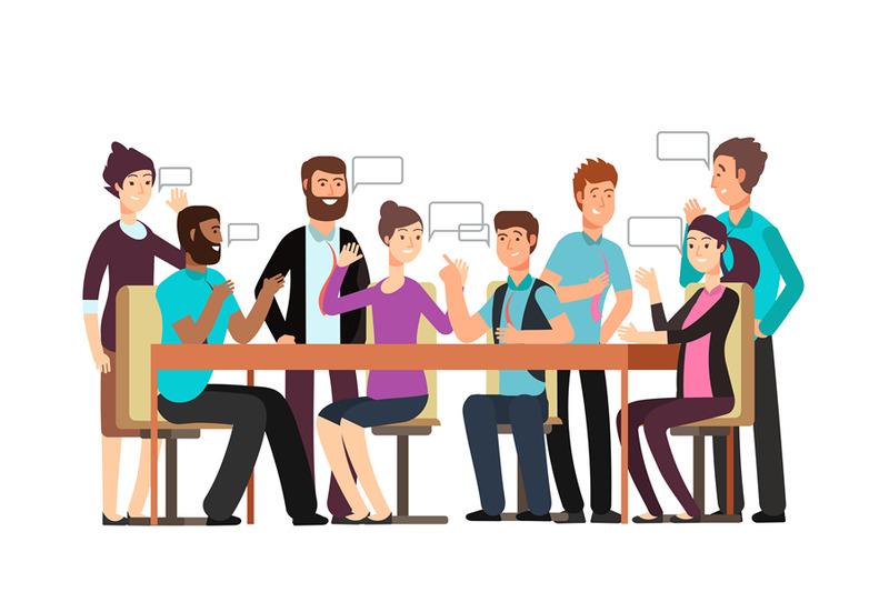 cartoon-character-business-team-have-conversation-woman-and-man-at-mo