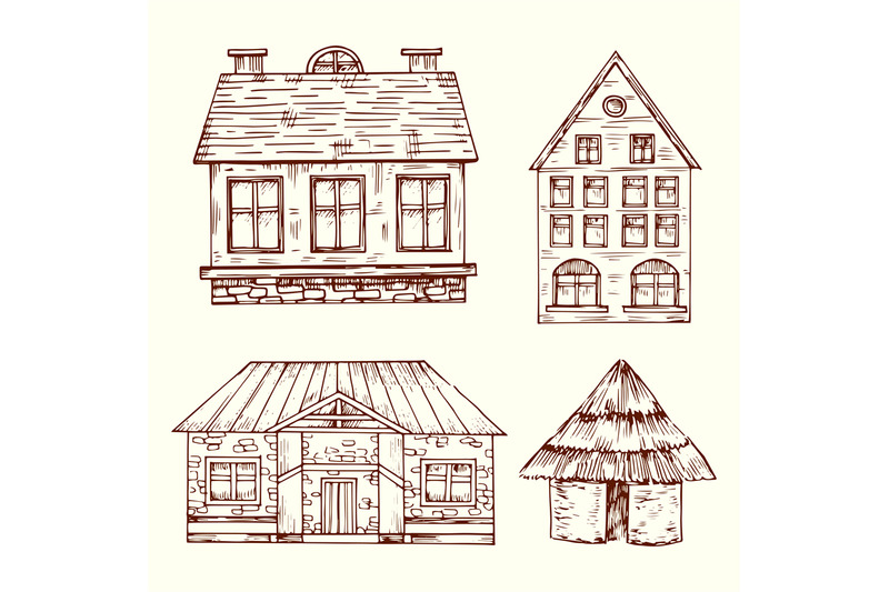 different-style-hand-drawn-houses-vector-set