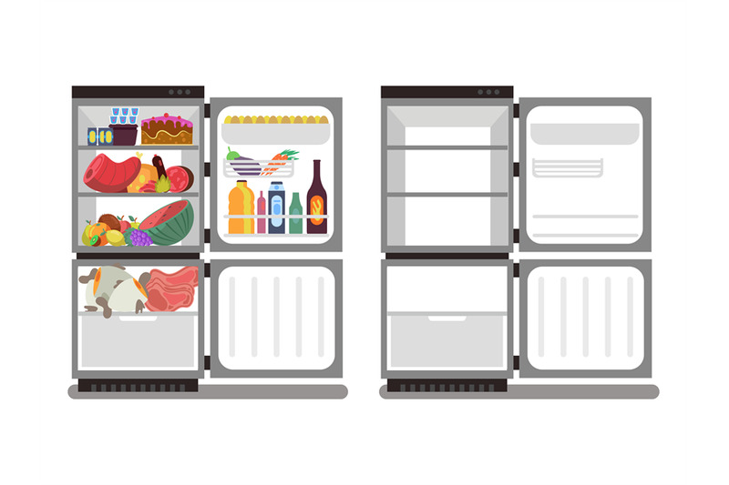 filled-with-food-and-empty-refrigerators-vector