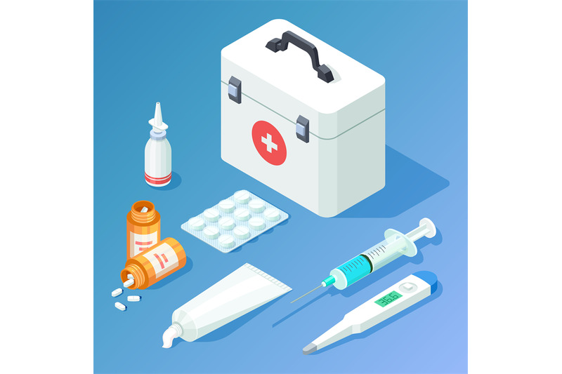 first-aid-kit-medicament-and-tools-isometric-vector