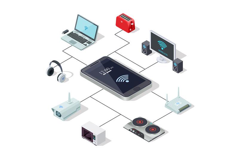 home-appliances-management-via-smartphone-smart-home-isometric-conce