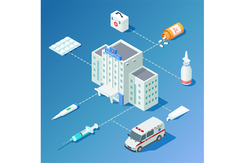 medicine-isometric-vector-with-hospital-building-ambulance-car