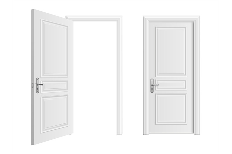 open-and-closed-white-entrance-realistic-door-isolated-on-white-backgr