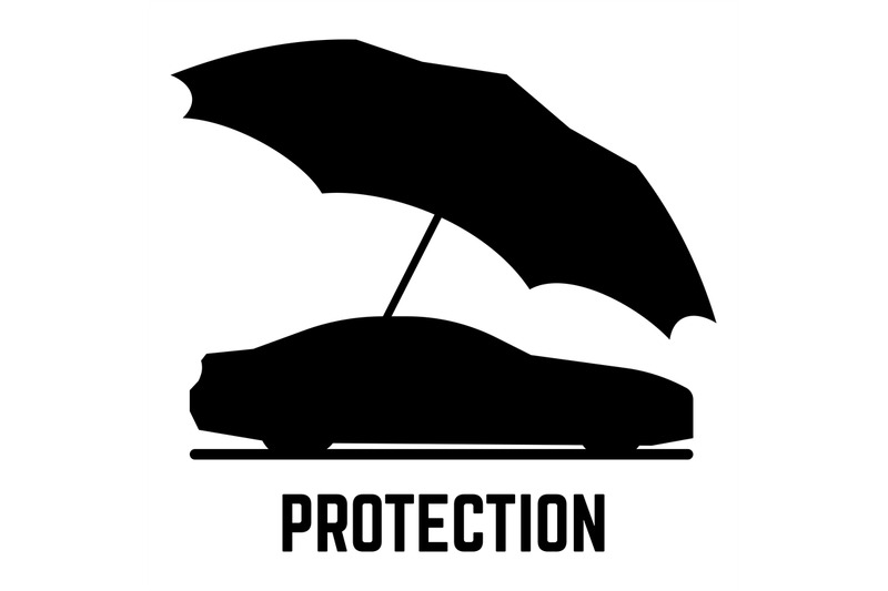 protection-or-insurance-vector-car-and-umbrella-silhouettes-isolated