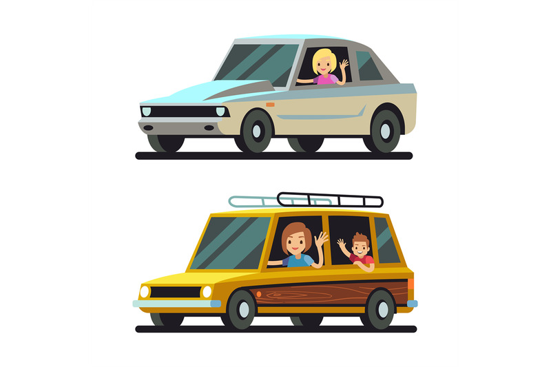 young-happy-women-driver-driving-cars-flat-vector-concept