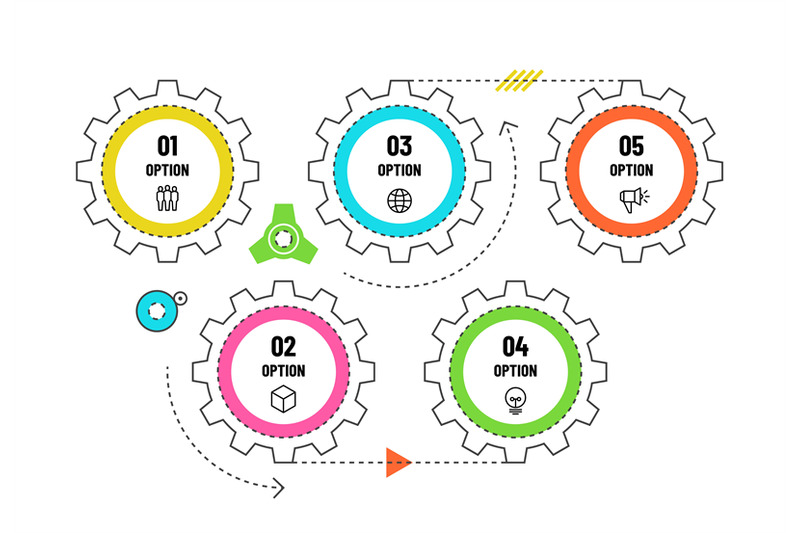 gears-infographic-engineering-timeline-concept-with-5-options-workfl