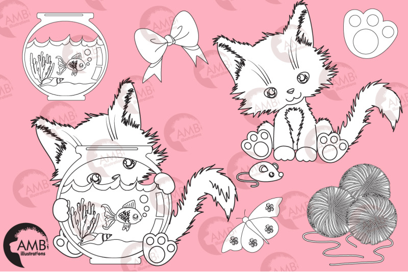 cutey-cat-digital-stamps-bows-butterflies-goldfish-stamps-amb-2655
