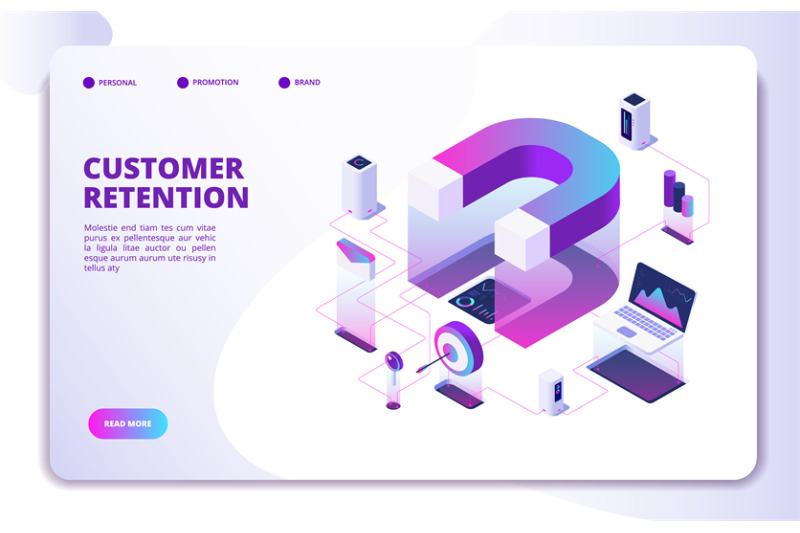 customer-retention-isometric-landing-page-client-loyalty-sale-brandin