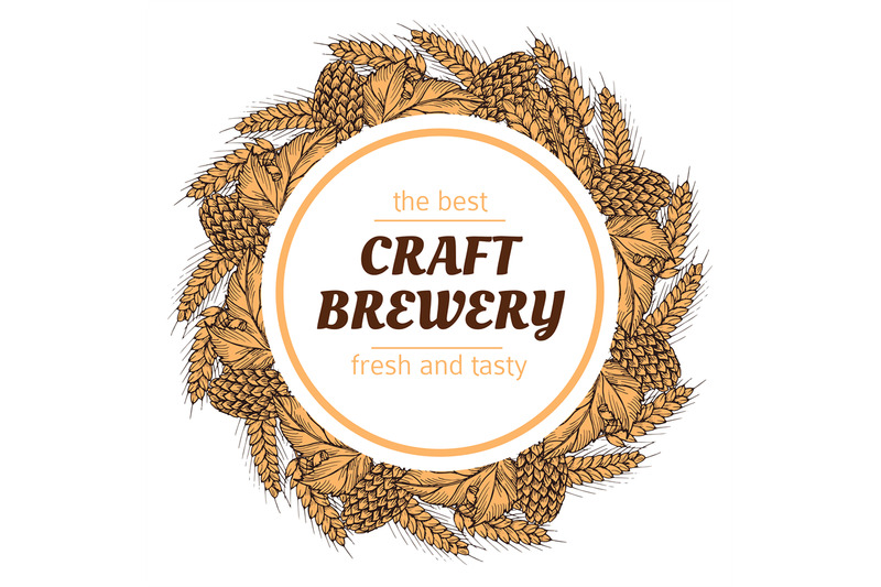 doodle-sketch-brewery-vintage-vector-round-banner-with-hops-and-wheat