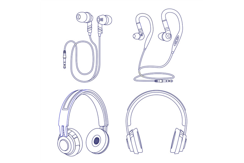 line-earphones-and-headphones-isolated-on-white-background