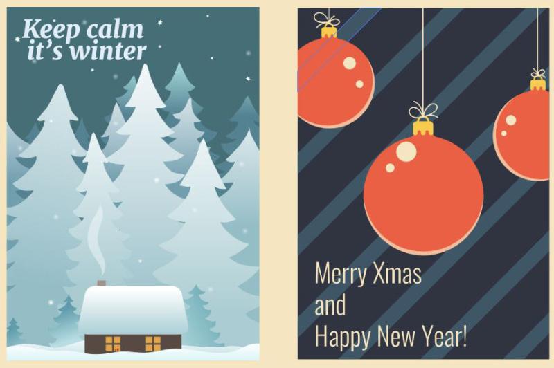 wintertime-postcards-vector-set