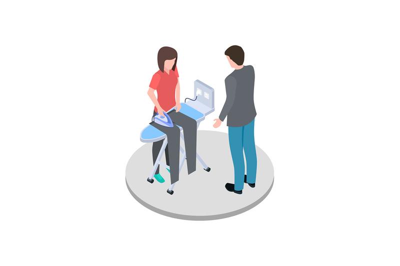 housewife-ironing-her-husband-pants-isometric-vector