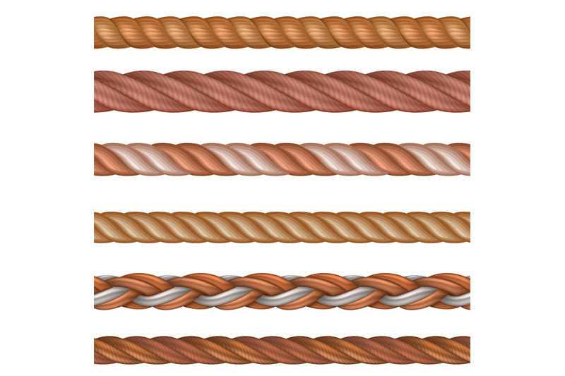 realistic-seamless-rope-and-nautical-cables-vector-set-isolated-on-whi