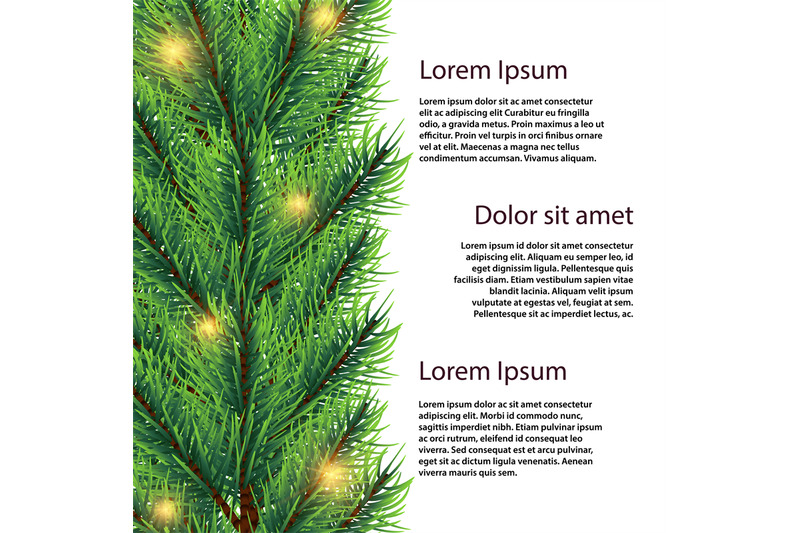 vector-realistic-fir-tree-branch-with-lights-banner-template